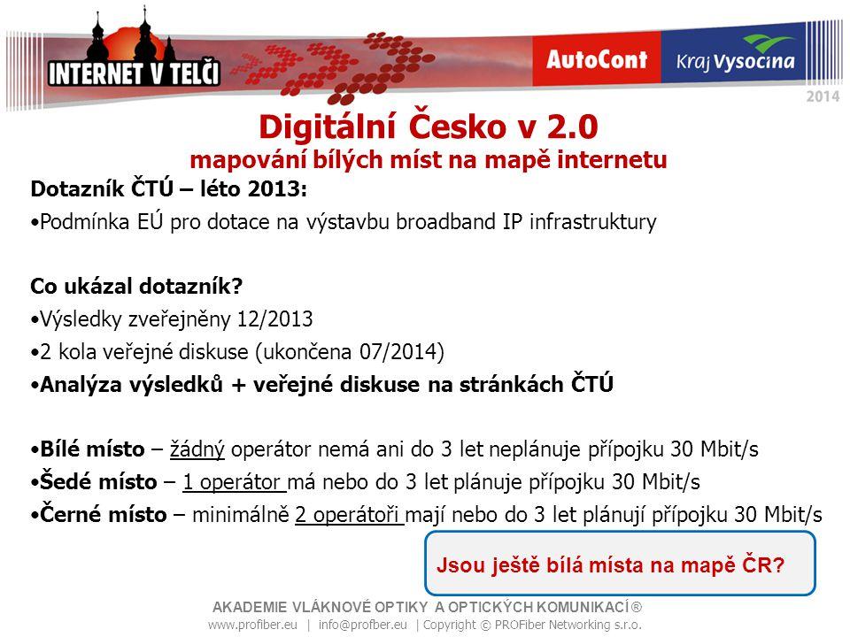 Digitální Česko v 2.0 mapování bílých míst na mapě internetu