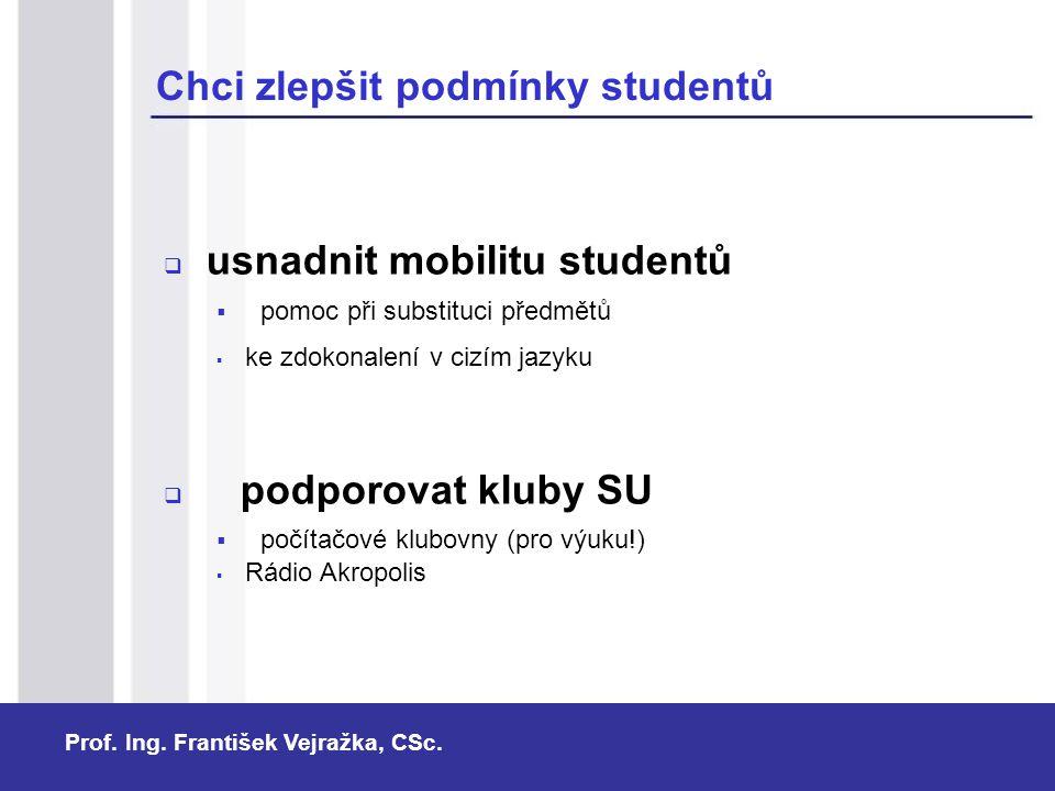 Chci zlepšit podmínky studentů