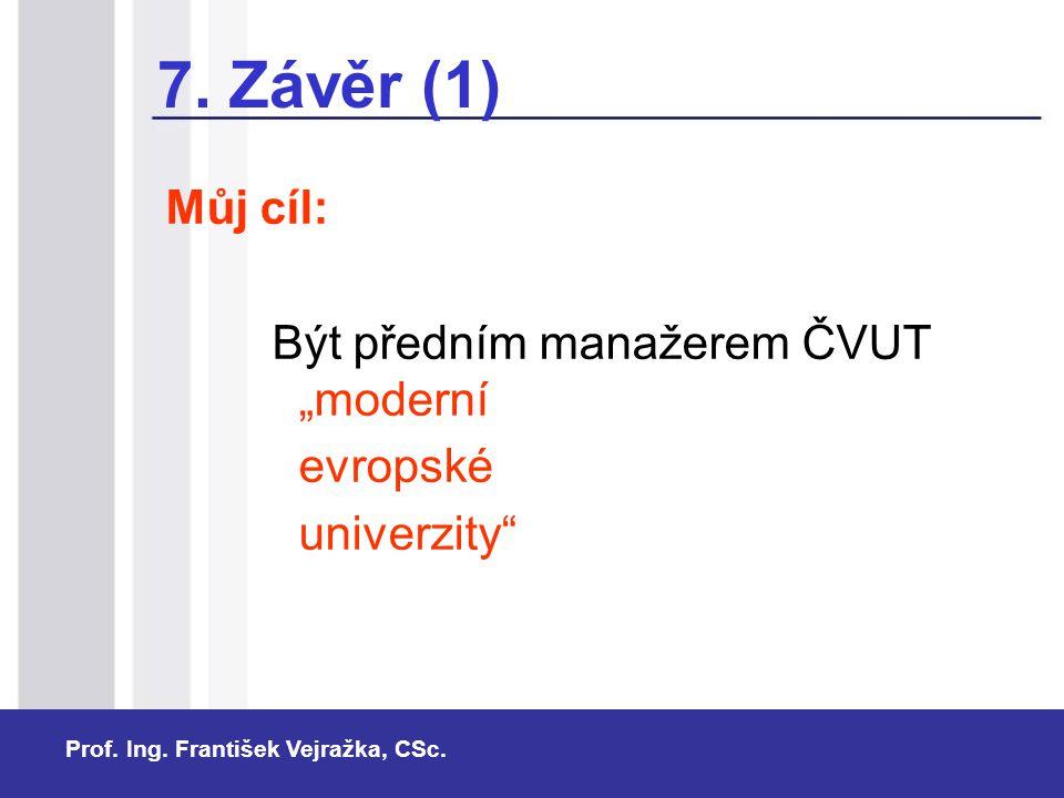 """7. Závěr (1) Můj cíl: Být předním manažerem ČVUT """"moderní evropské"""