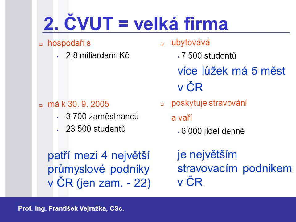 2. ČVUT = velká firma více lůžek má 5 měst v ČR