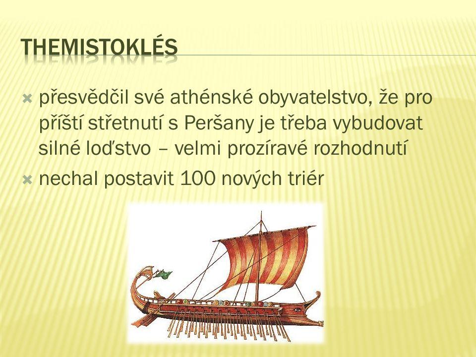 Themistoklés přesvědčil své athénské obyvatelstvo, že pro příští střetnutí s Peršany je třeba vybudovat silné loďstvo – velmi prozíravé rozhodnutí.