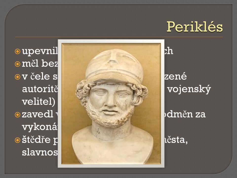 Periklés upevnil demokracii v Athénách měl bezmeznou důvěru lidu