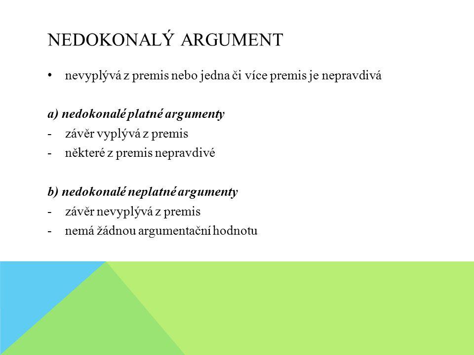 NEDOKONALÝ ARGUMENT nevyplývá z premis nebo jedna či více premis je nepravdivá. a) nedokonalé platné argumenty.