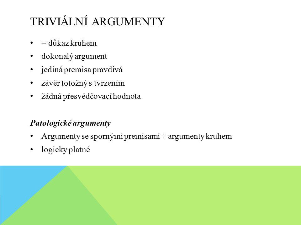 TRIVIÁLNÍ ARGUMENTY = důkaz kruhem dokonalý argument