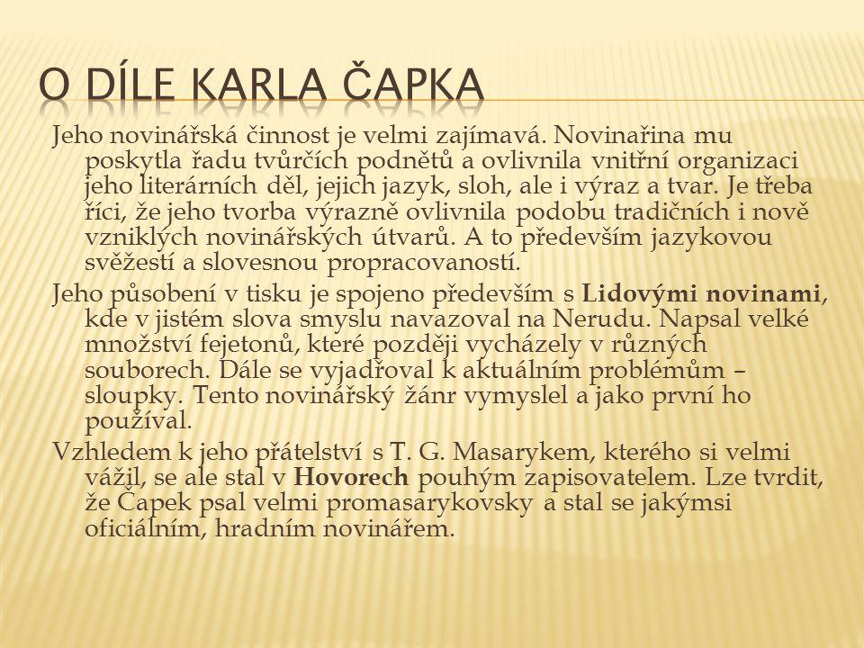 O díle Karla Čapka
