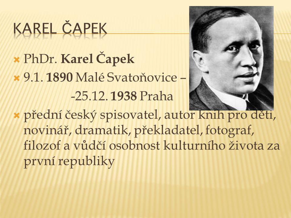Karel Čapek PhDr. Karel Čapek 9.1. 1890 Malé Svatoňovice –