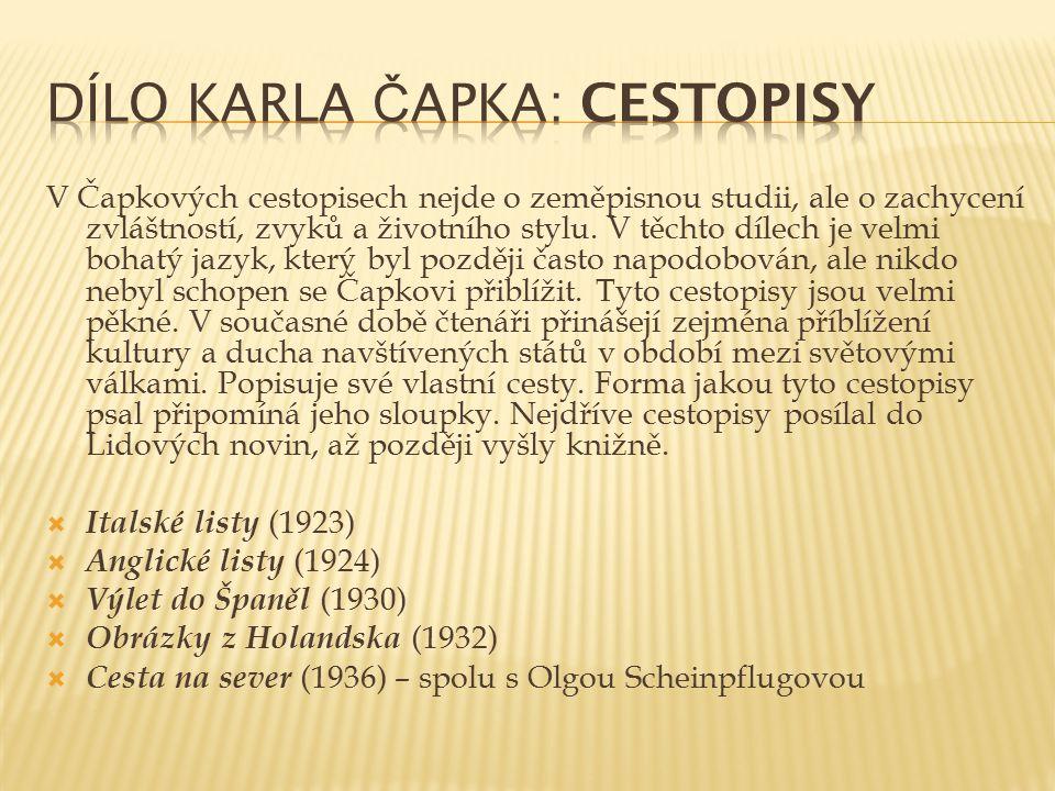 Dílo Karla Čapka: Cestopisy