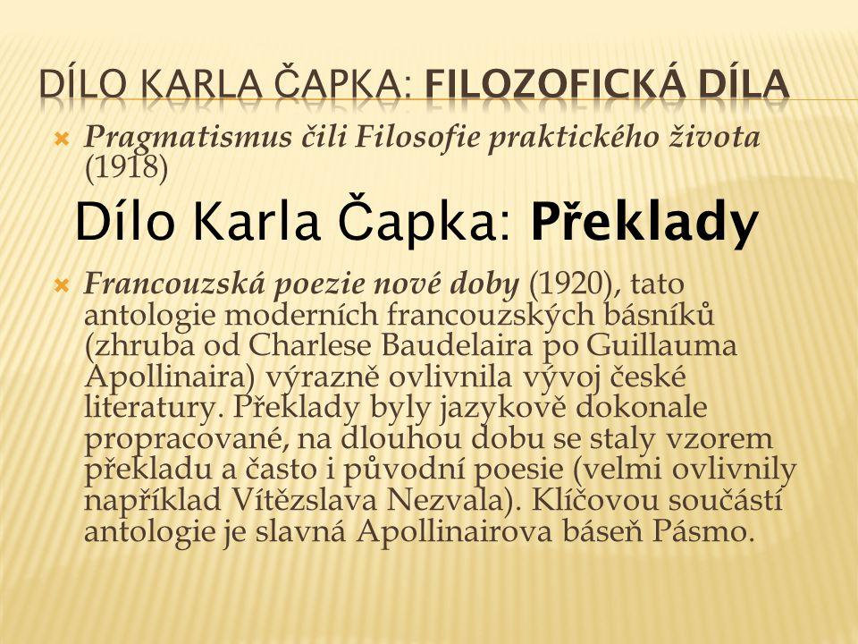 Dílo Karla Čapka: Filozofická díla