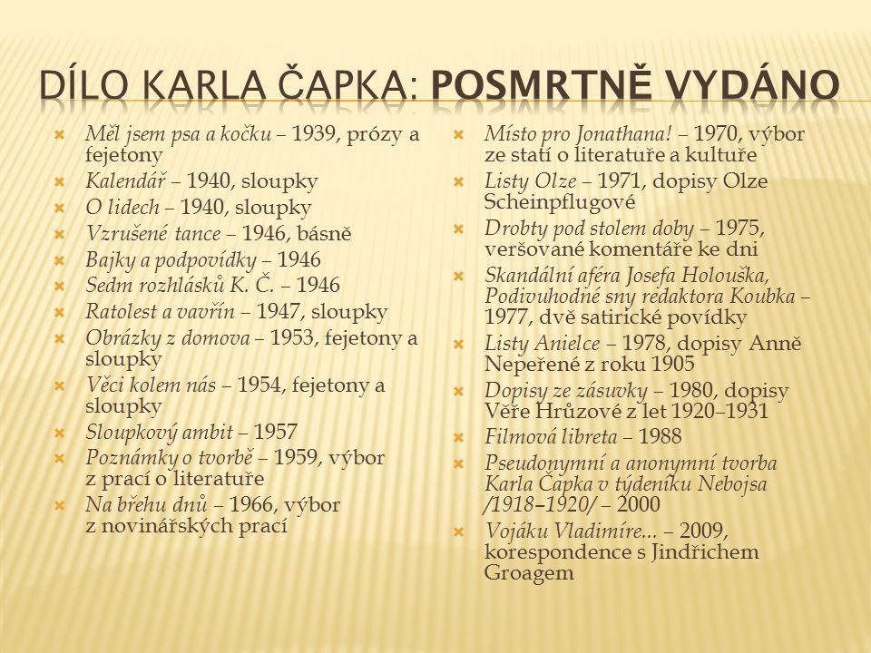 Dílo Karla Čapka: Posmrtně vydáno