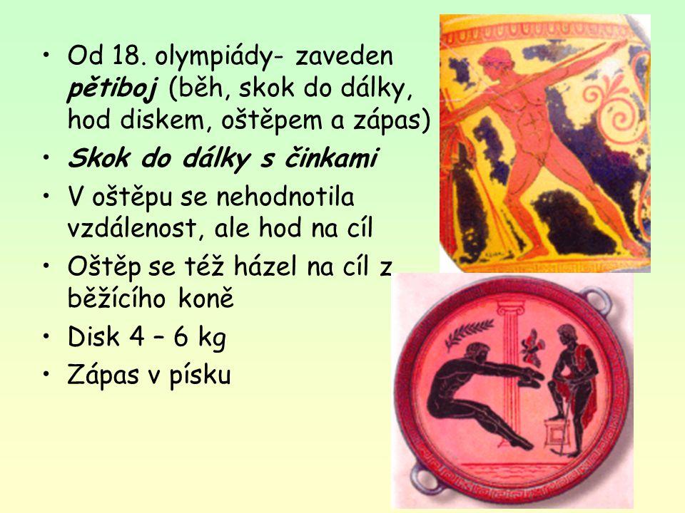 Od 18. olympiády- zaveden pětiboj (běh, skok do dálky, hod diskem, oštěpem a zápas)