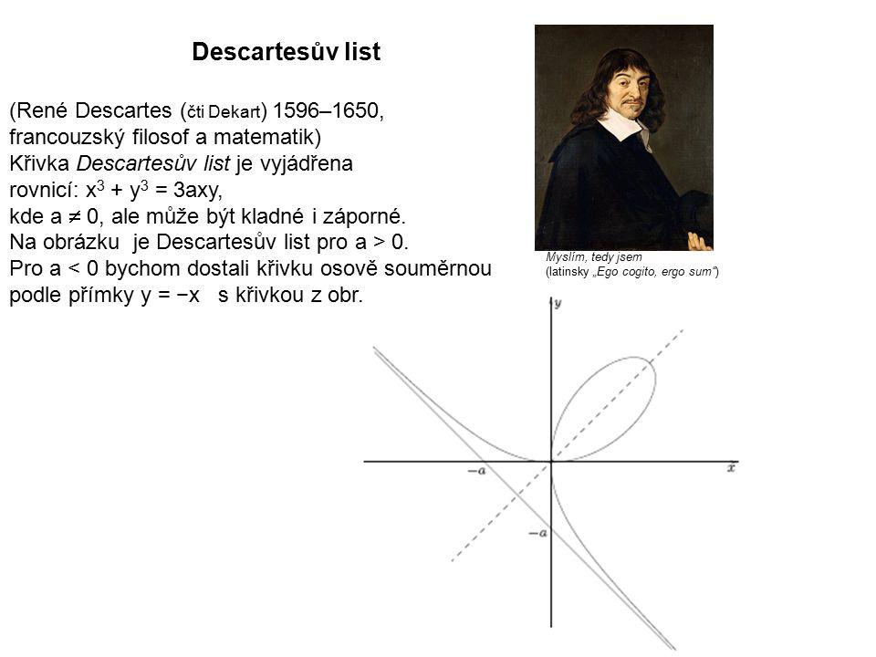 Technická mechanika 9.přednáška. Descartesův list.