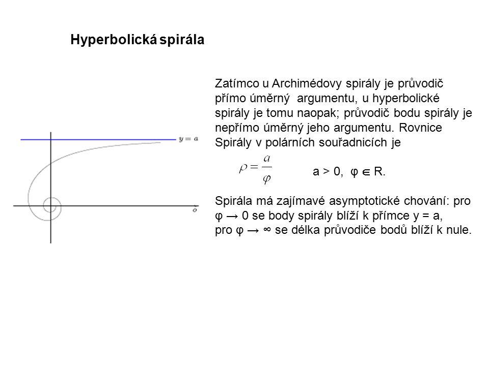 Technická mechanika 9.přednáška. Hyperbolická spirála. Zatímco u Archimédovy spirály je průvodič přímo úměrný argumentu, u hyperbolické.