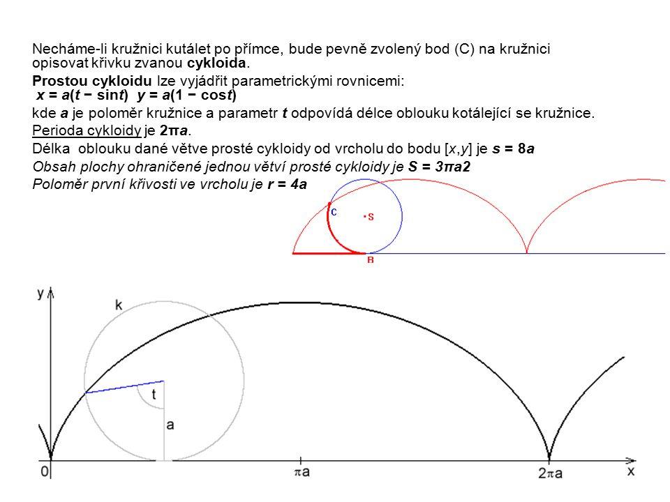 Obsah plochy ohraničené jednou větví prosté cykloidy je S = 3πa2