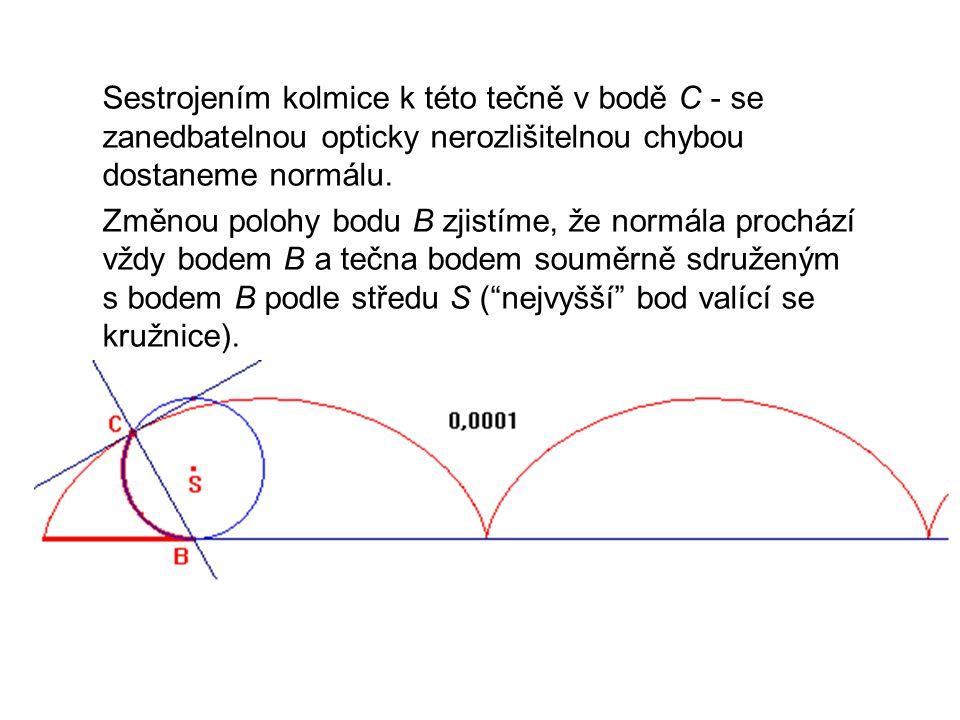 Technická mechanika 9.přednáška. Sestrojením kolmice k této tečně v bodě C - se zanedbatelnou opticky nerozlišitelnou chybou dostaneme normálu.