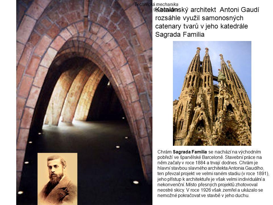 Technická mechanika 9.přednáška. Katalánský architekt Antoni Gaudí rozsáhle využil samonosných catenary tvarů v jeho katedrále Sagrada Familia.