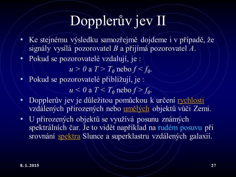 Dopplerův jev II Ke stejnému výsledku samozřejmě dojdeme i v případě, že signály vysílá pozorovatel B a přijímá pozorovatel A.