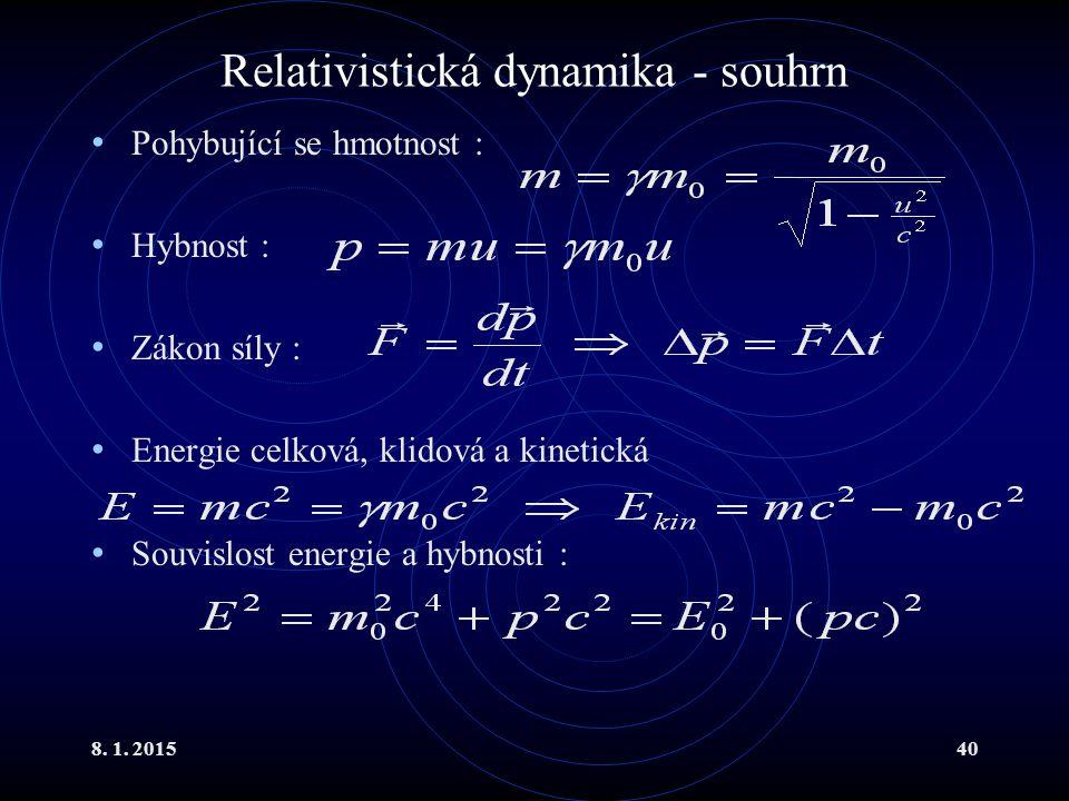 Relativistická dynamika - souhrn