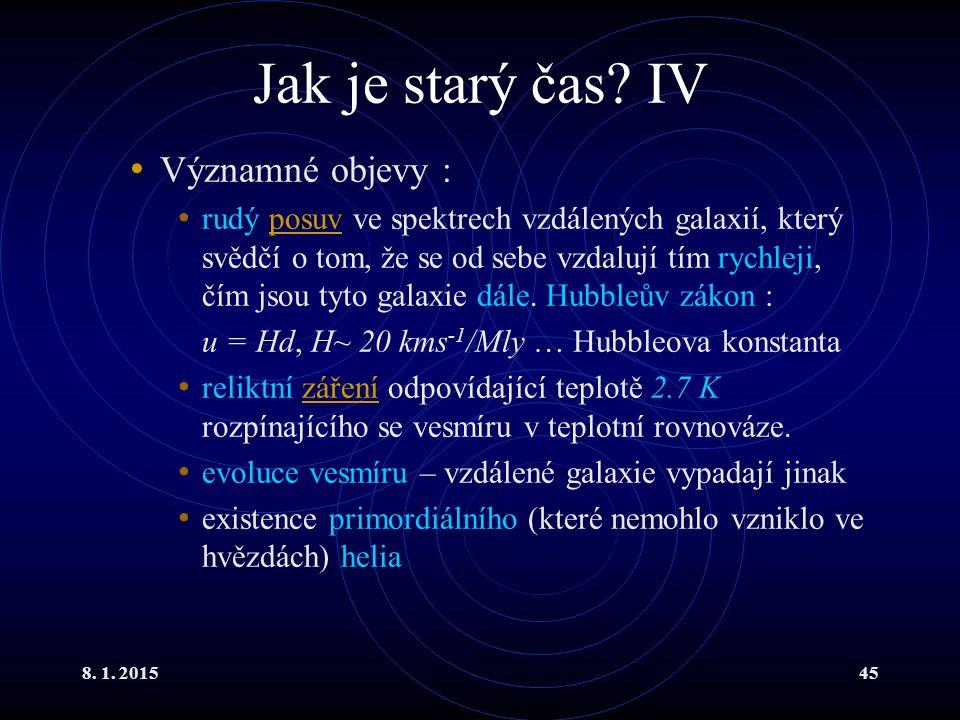 Jak je starý čas IV Významné objevy :