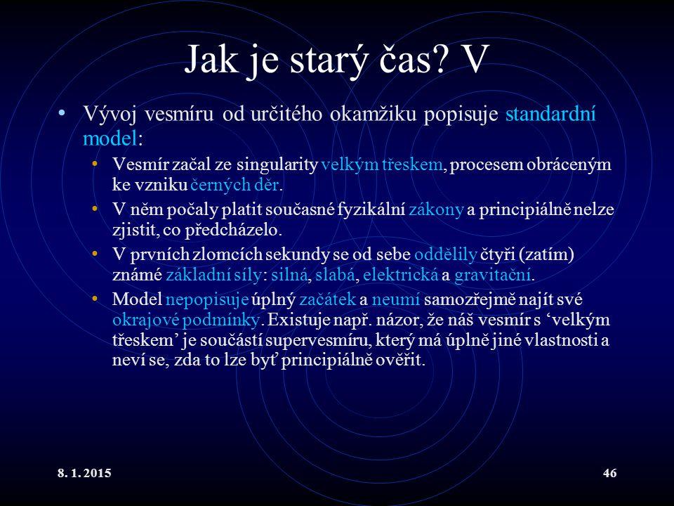 Jak je starý čas V Vývoj vesmíru od určitého okamžiku popisuje standardní model: