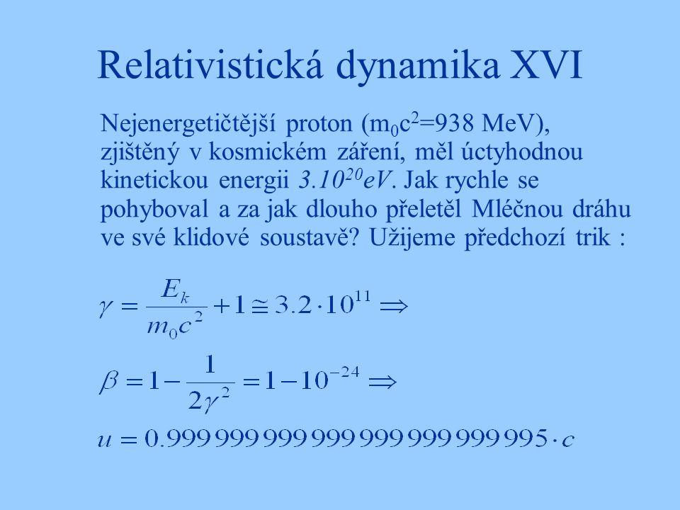 Relativistická dynamika XVI