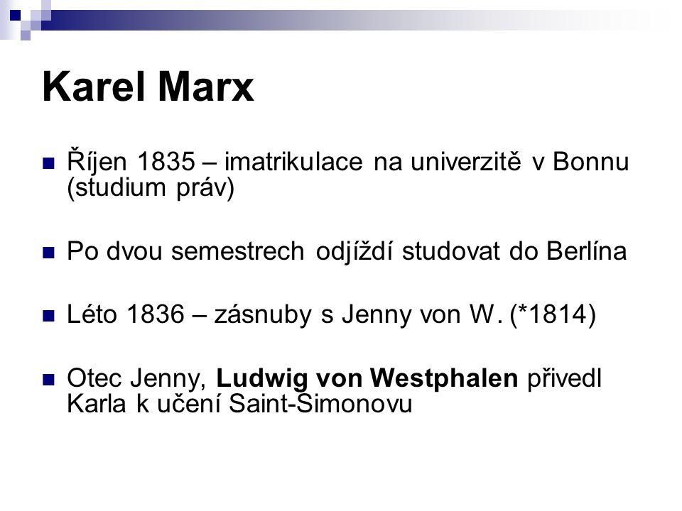 Karel Marx Říjen 1835 – imatrikulace na univerzitě v Bonnu (studium práv) Po dvou semestrech odjíždí studovat do Berlína.