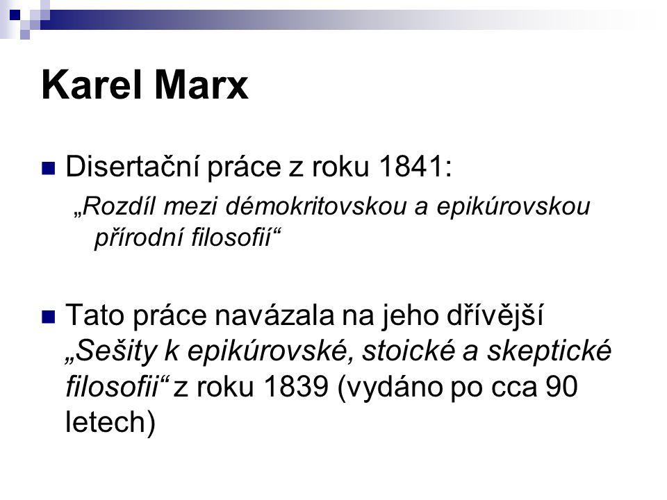 Karel Marx Disertační práce z roku 1841: