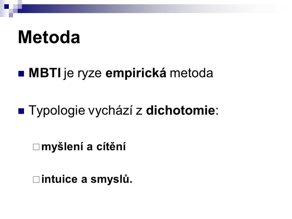 Metoda MBTI je ryze empirická metoda Typologie vychází z dichotomie: