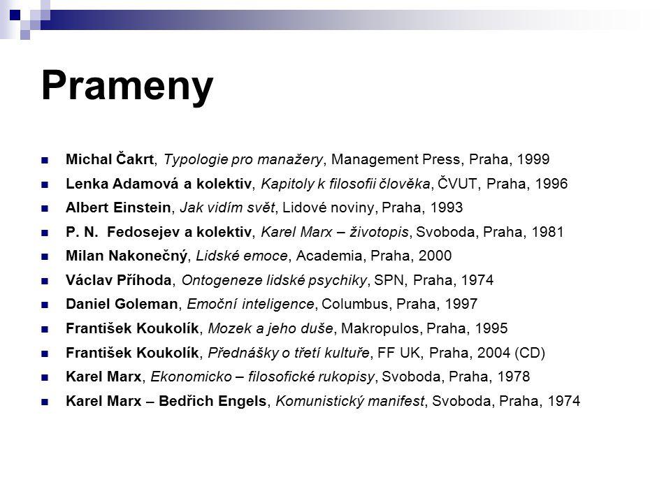 Prameny Michal Čakrt, Typologie pro manažery, Management Press, Praha, 1999.
