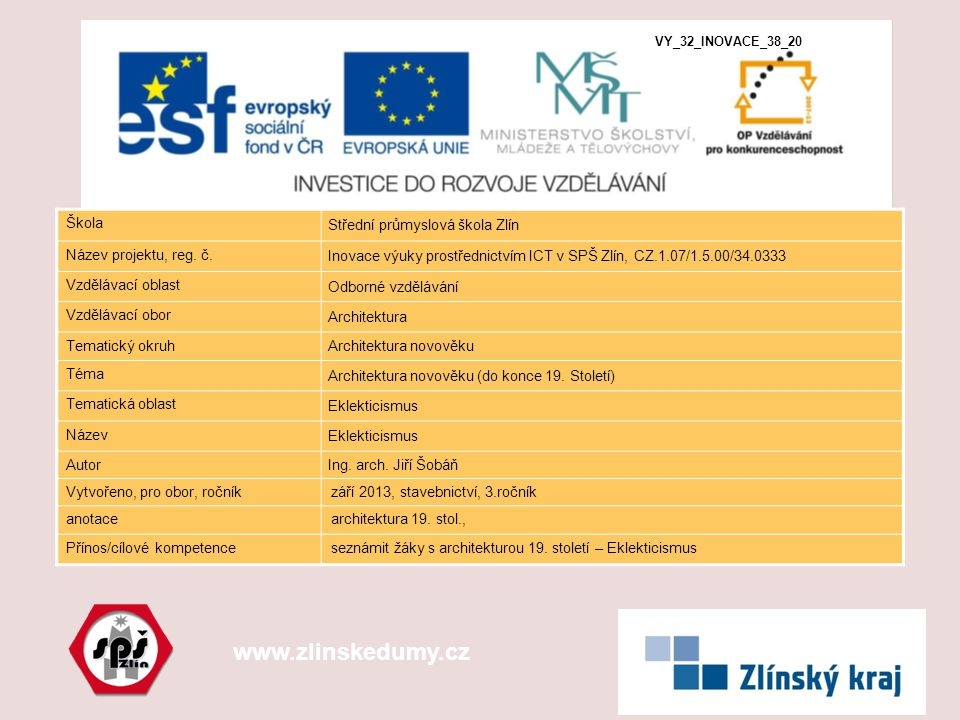 www.zlinskedumy.cz Škola Střední průmyslová škola Zlín