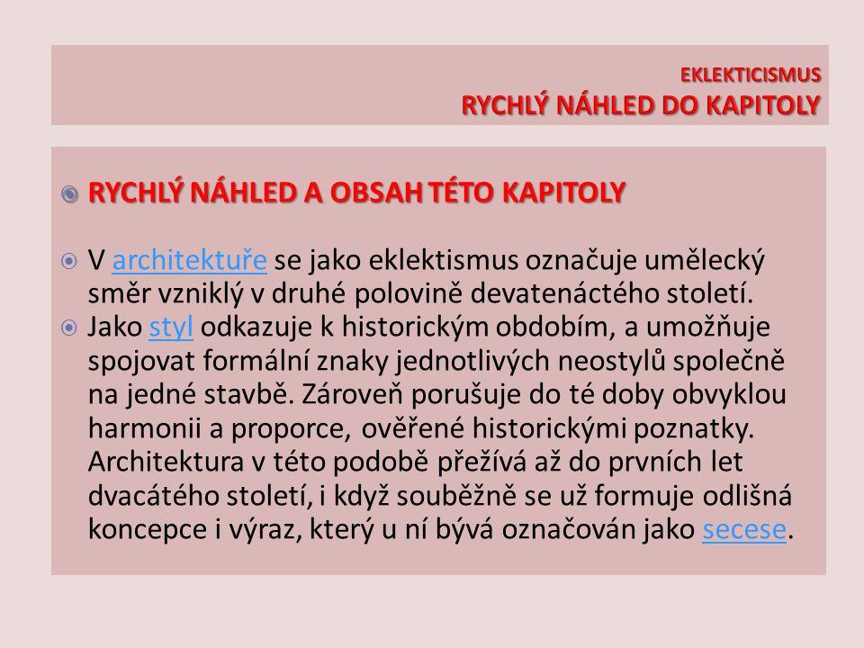 EKLEKTICISMUS RYCHLÝ NÁHLED DO KAPITOLY
