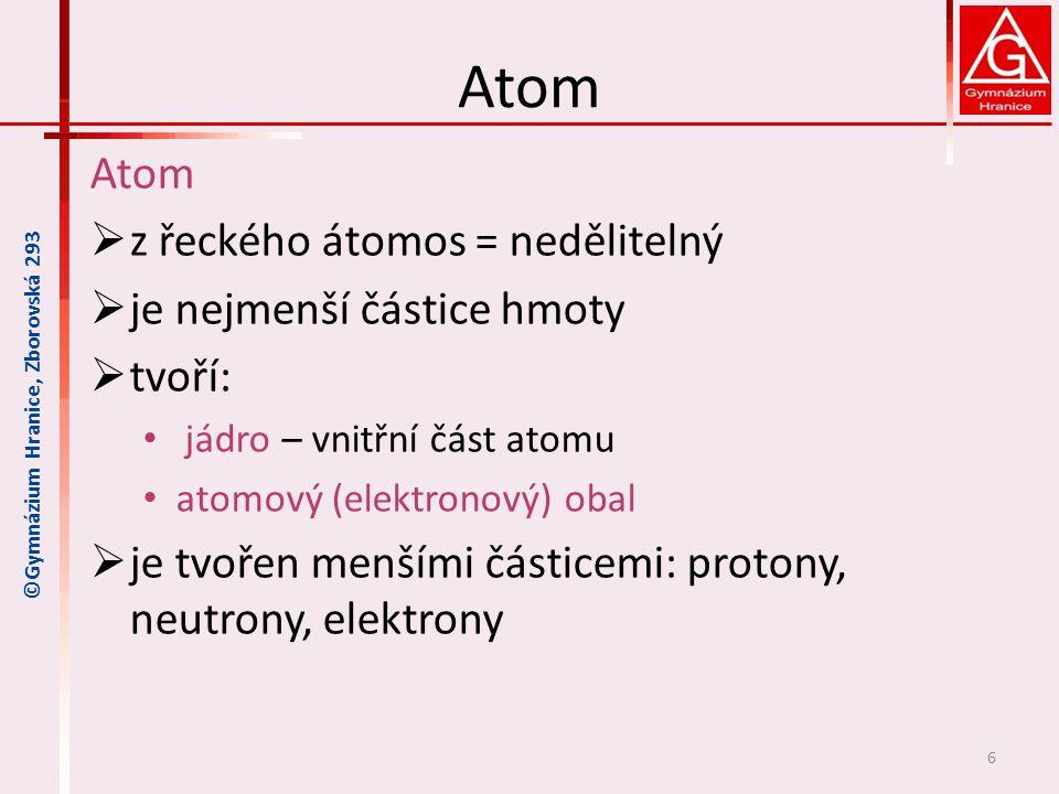 Atom Atom z řeckého átomos = nedělitelný je nejmenší částice hmoty