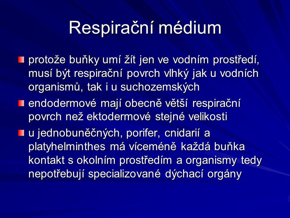 Respirační médium protože buňky umí žít jen ve vodním prostředí, musí být respirační povrch vlhký jak u vodních organismů, tak i u suchozemských.