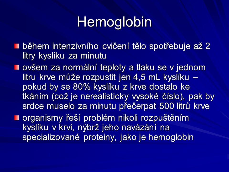 Hemoglobin během intenzivního cvičení tělo spotřebuje až 2 litry kyslíku za minutu.