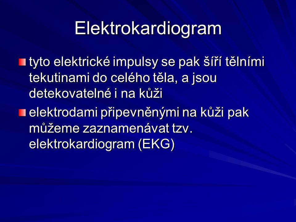 Elektrokardiogram tyto elektrické impulsy se pak šíří tělními tekutinami do celého těla, a jsou detekovatelné i na kůži.