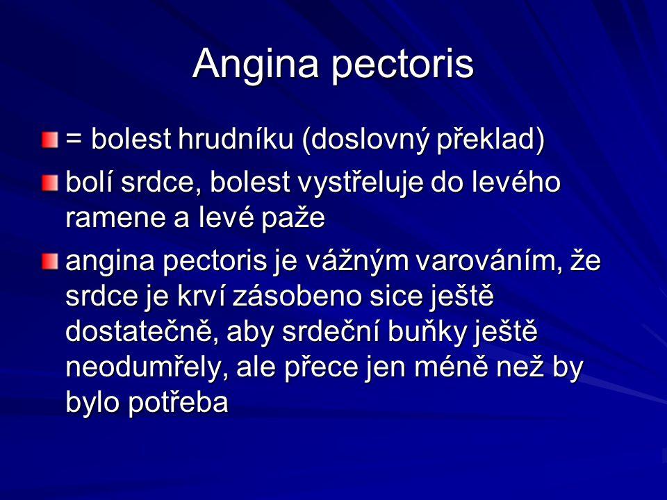 Angina pectoris = bolest hrudníku (doslovný překlad)