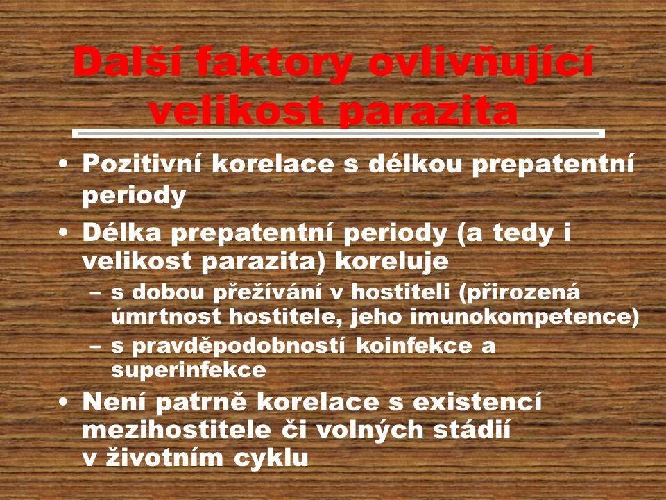 Další faktory ovlivňující velikost parazita