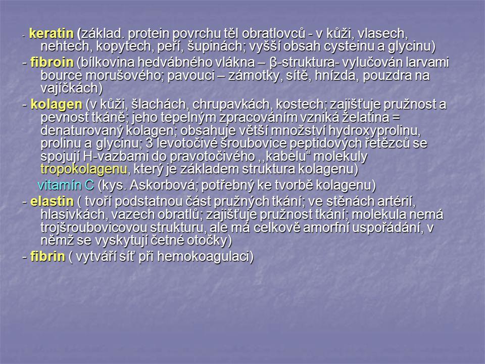 vitamín C (kys. Askorbová; potřebný ke tvorbě kolagenu)