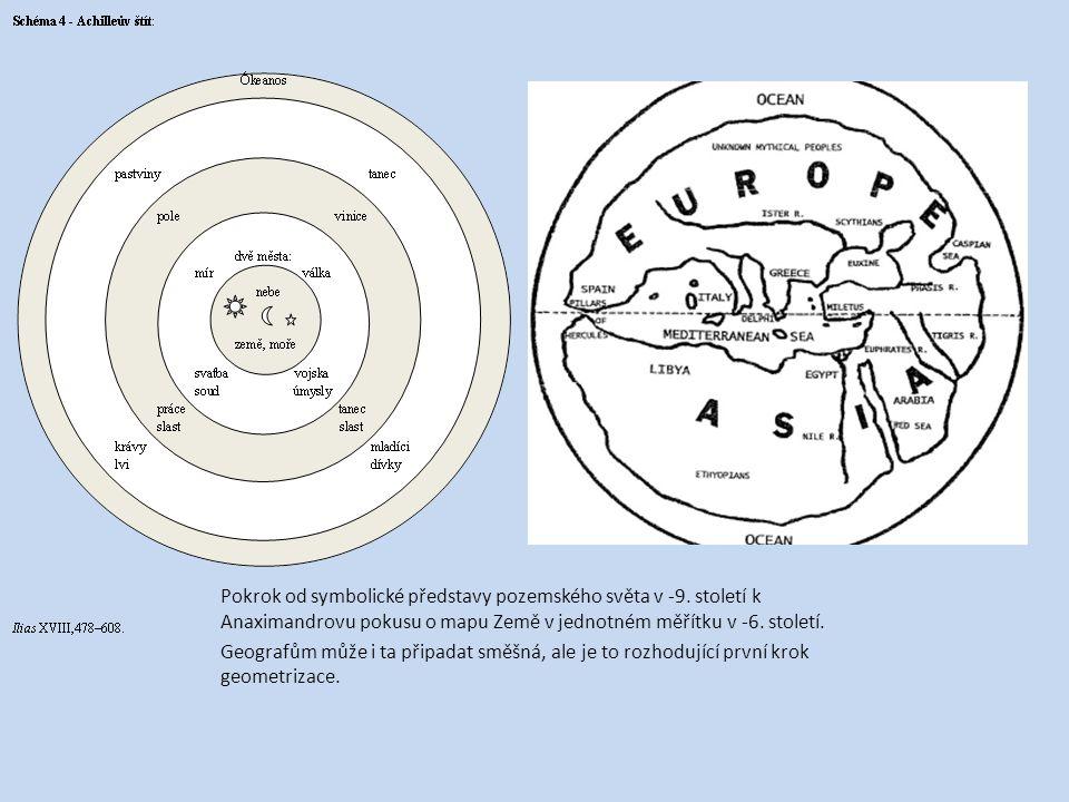 Pokrok od symbolické představy pozemského světa v -9