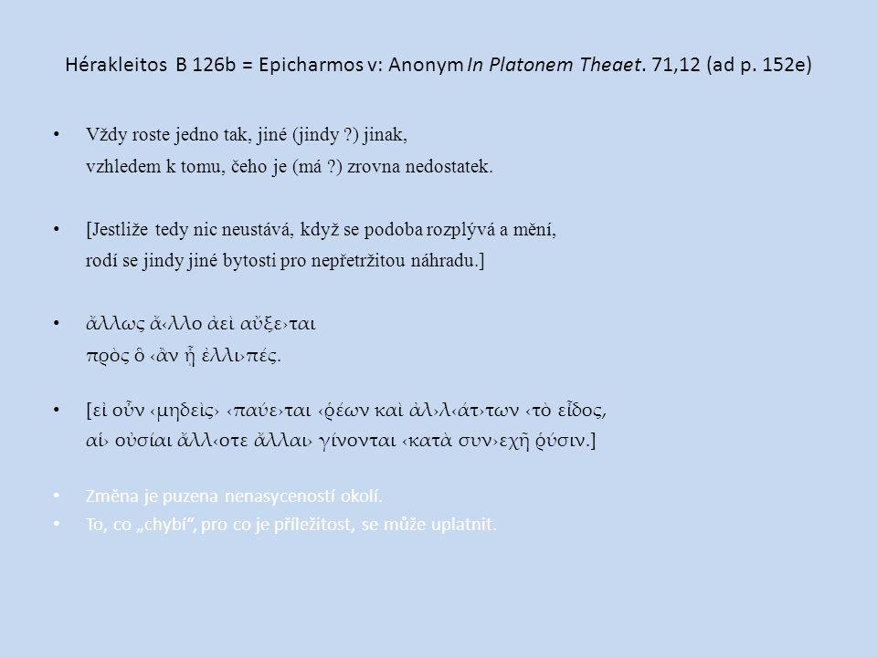 Hérakleitos B 126b = Epicharmos v: Anonym In Platonem Theaet