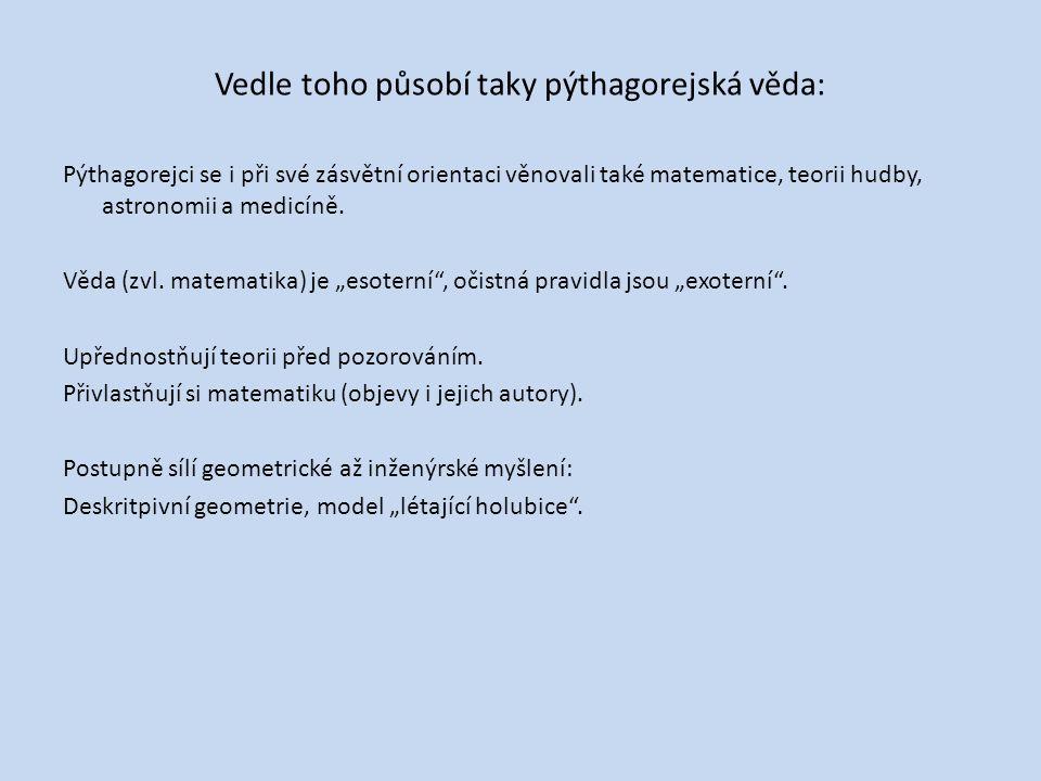 Vedle toho působí taky pýthagorejská věda: