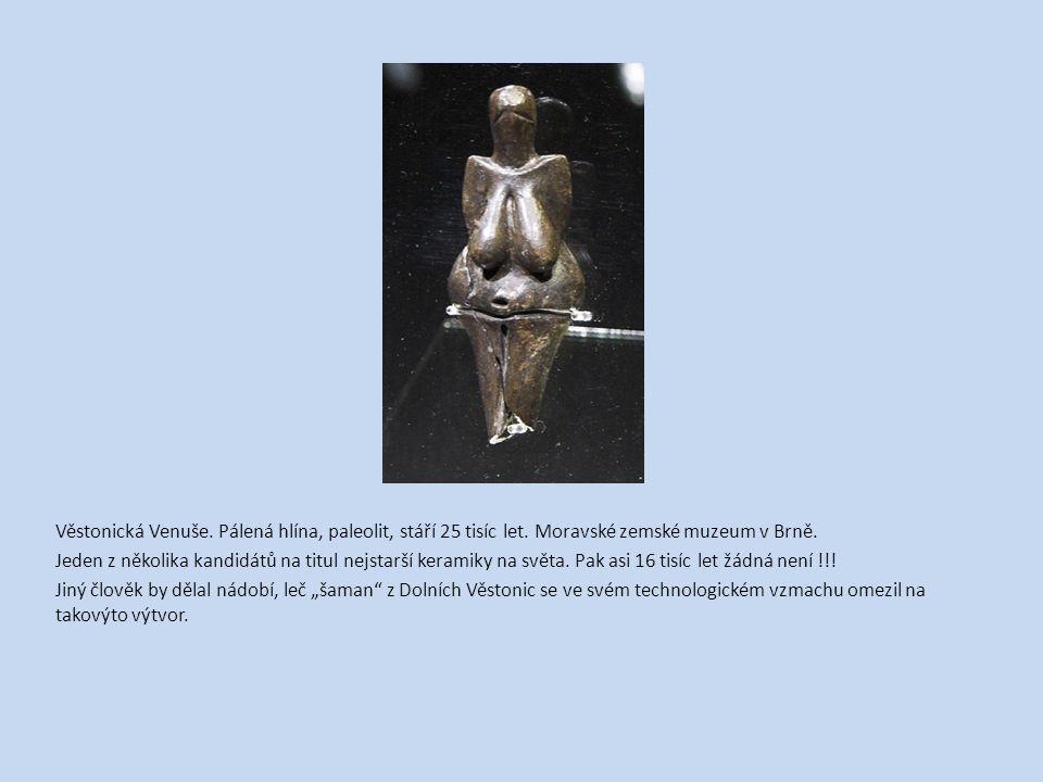Věstonická Venuše. Pálená hlína, paleolit, stáří 25 tisíc let