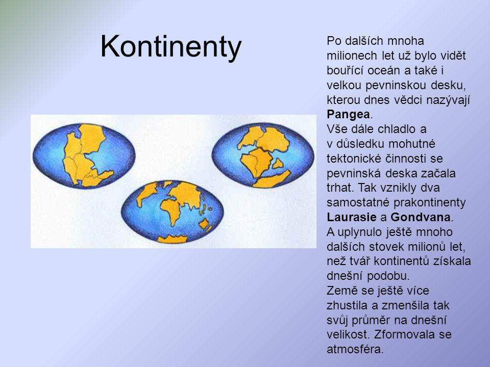 Kontinenty Po dalších mnoha milionech let už bylo vidět bouřící oceán a také i velkou pevninskou desku, kterou dnes vědci nazývají Pangea.
