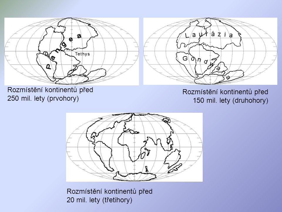 Rozmístění kontinentů před 250 mil. lety (prvohory)