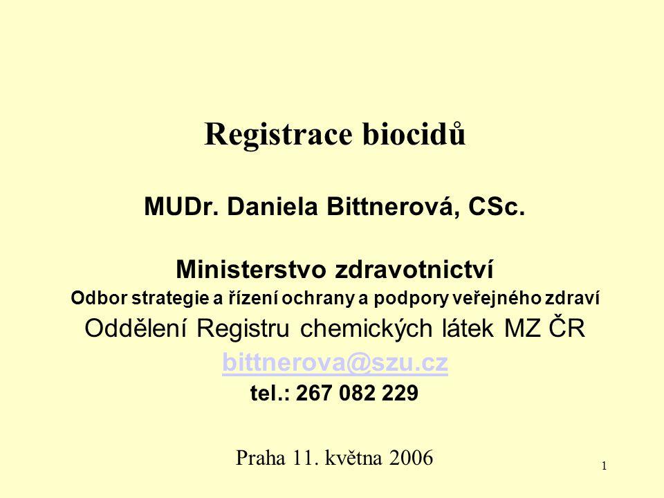 Registrace biocidů MUDr. Daniela Bittnerová, CSc.