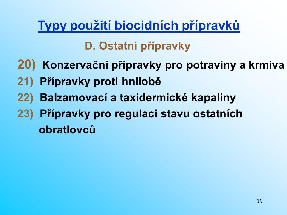 Typy použití biocidních přípravků