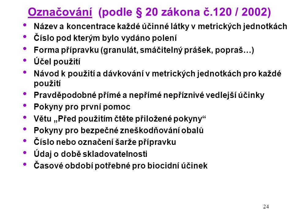 Označování (podle § 20 zákona č.120 / 2002)