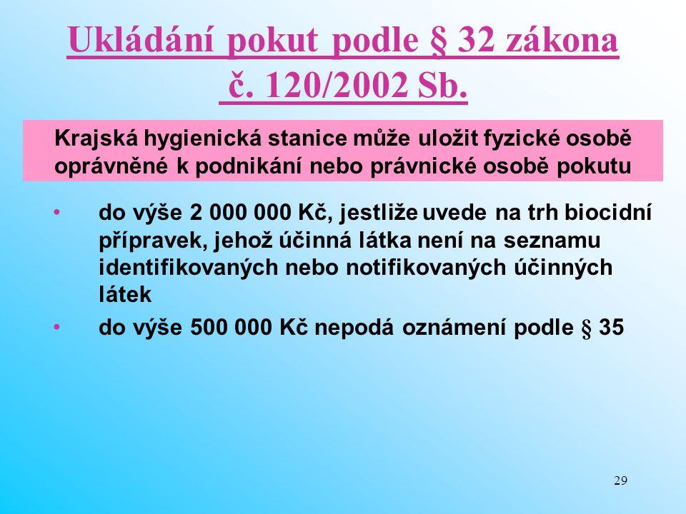 Ukládání pokut podle § 32 zákona č. 120/2002 Sb.