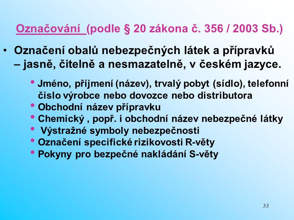 Označování (podle § 20 zákona č. 356 / 2003 Sb.)