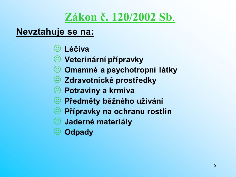 Zákon č. 120/2002 Sb. Nevztahuje se na: Léčiva Veterinární přípravky