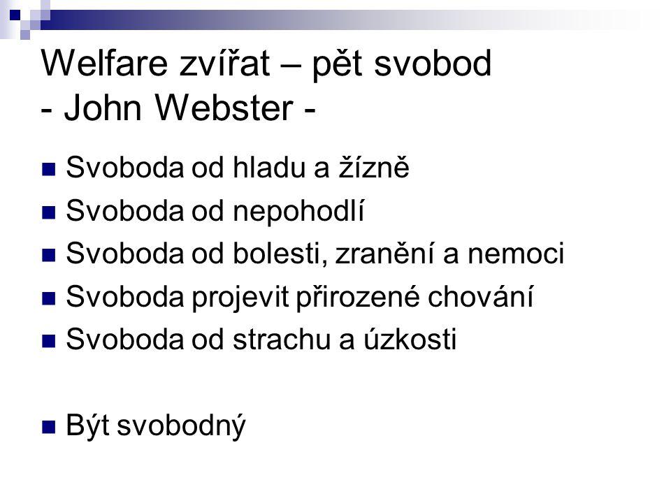 Welfare zvířat – pět svobod - John Webster -